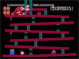In game image of Donkey Kong on the Nintendo Famicom Disk System.