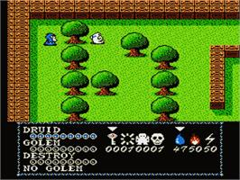 In game image of Druid - Kyoufu no Tobira on the Nintendo Famicom Disk System.