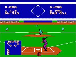 In game image of Exciting Baseball on the Nintendo Famicom Disk System.