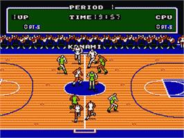 In game image of Exciting Basket on the Nintendo Famicom Disk System.