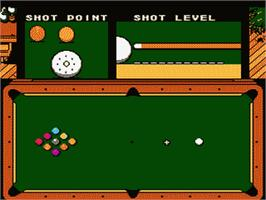 In game image of Exciting Billiard on the Nintendo Famicom Disk System.
