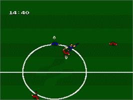 In game image of Exciting Soccer - Konami Cup on the Nintendo Famicom Disk System.