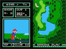 In game image of Family Computer Golf Japan Course on the Nintendo Famicom Disk System.