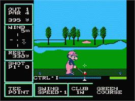 In game image of Family Computer Golf U.S. Course on the Nintendo Famicom Disk System.
