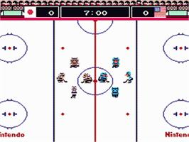 In game image of Ice Hockey on the Nintendo Famicom Disk System.