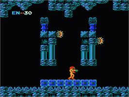 In game image of Metroid on the Nintendo Famicom Disk System.