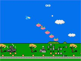 In game image of Moero TwinBee - Cinnamon Hakase wo Sukue! on the Nintendo Famicom Disk System.