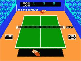 In game image of Smash Ping Pong on the Nintendo Famicom Disk System.