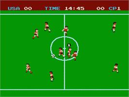 In game image of Soccer on the Nintendo Famicom Disk System.