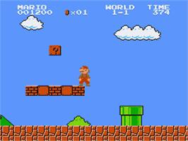 In game image of Super Mario Brothers on the Nintendo Famicom Disk System.