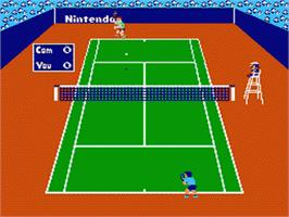 In game image of Tennis on the Nintendo Famicom Disk System.