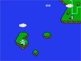 In game image of TwinBee on the Nintendo Famicom Disk System.