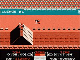 In game image of Vs. Excitebike on the Nintendo Famicom Disk System.