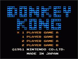 Title screen of Donkey Kong on the Nintendo Famicom Disk System.