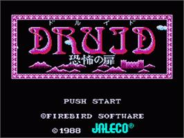 Title screen of Druid - Kyoufu no Tobira on the Nintendo Famicom Disk System.