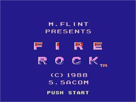 Title screen of Fire Rock on the Nintendo Famicom Disk System.