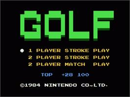 Title screen of Golf on the Nintendo Famicom Disk System.