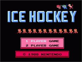 Title screen of Ice Hockey on the Nintendo Famicom Disk System.
