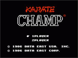Title screen of Karate Champ on the Nintendo Famicom Disk System.
