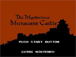 Title screen of Nazo no Murasame Jou on the Nintendo Famicom Disk System.