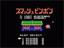 Title screen of Smash Ping Pong on the Nintendo Famicom Disk System.