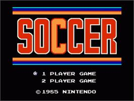 Title screen of Soccer on the Nintendo Famicom Disk System.