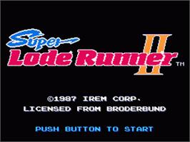 Title screen of Super Lode Runner II on the Nintendo Famicom Disk System.