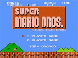 Title screen of Super Mario Brothers on the Nintendo Famicom Disk System.