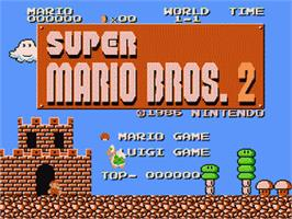 Title screen of Super Mario Brothers 2 on the Nintendo Famicom Disk System.
