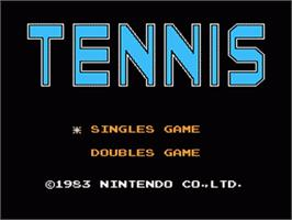 Title screen of Tennis on the Nintendo Famicom Disk System.