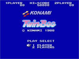 Title screen of TwinBee on the Nintendo Famicom Disk System.