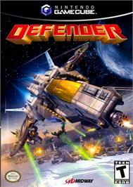 Box cover for Defender on the Nintendo GameCube.
