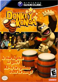 Box cover for Donkey Konga on the Nintendo GameCube.