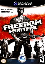 Box cover for Freedom Fighters on the Nintendo GameCube.