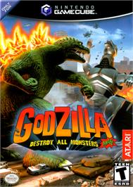 Box cover for Godzilla: Destroy All Monsters Melee on the Nintendo GameCube.