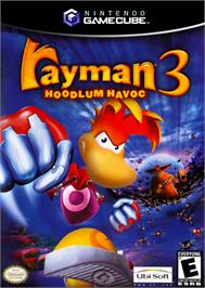 Box cover for Rayman 3: Hoodlum Havoc on the Nintendo GameCube.
