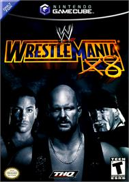 Box cover for WWE WrestleMania X8 on the Nintendo GameCube.