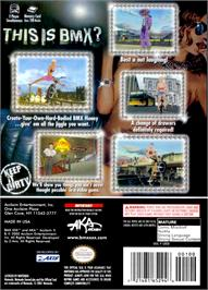 Box back cover for BMX XXX on the Nintendo GameCube.