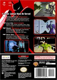 Box back cover for Batman: Vengeance on the Nintendo GameCube.