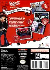 Box back cover for Bratz: Rock Angelz on the Nintendo GameCube.