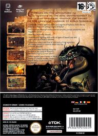 Box back cover for Conan on the Nintendo GameCube.