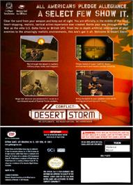 Box back cover for Conflict: Desert Storm on the Nintendo GameCube.