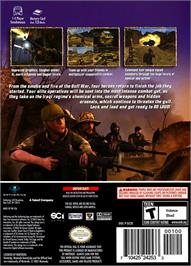 Box back cover for Conflict: Desert Storm II: Back to Baghdad on the Nintendo GameCube.
