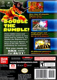 Box back cover for Digimon Rumble Arena 2 on the Nintendo GameCube.