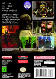 Box back cover for Eternal Darkness: Sanity's Requiem on the Nintendo GameCube.