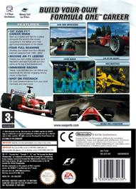 Box back cover for F1 Career Challenge on the Nintendo GameCube.