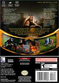 Box back cover for Gladius on the Nintendo GameCube.