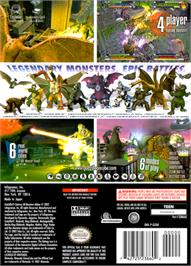 Box back cover for Godzilla: Destroy All Monsters Melee on the Nintendo GameCube.