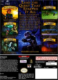 Box back cover for Hobbit on the Nintendo GameCube.