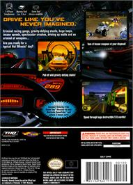 Box back cover for Hot Wheels: Velocity X on the Nintendo GameCube.